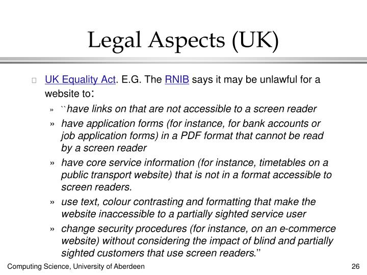 Legal Aspects (UK)