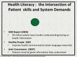 health literacy the intersection of patient skills and system demands