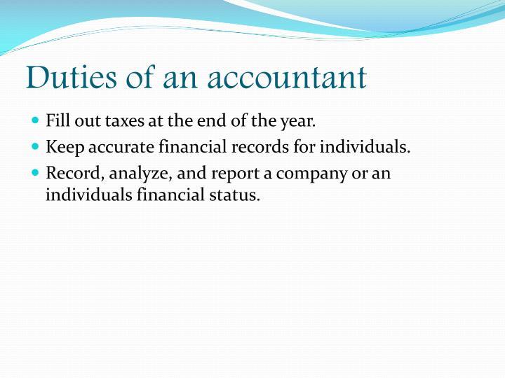 Duties of an accountant