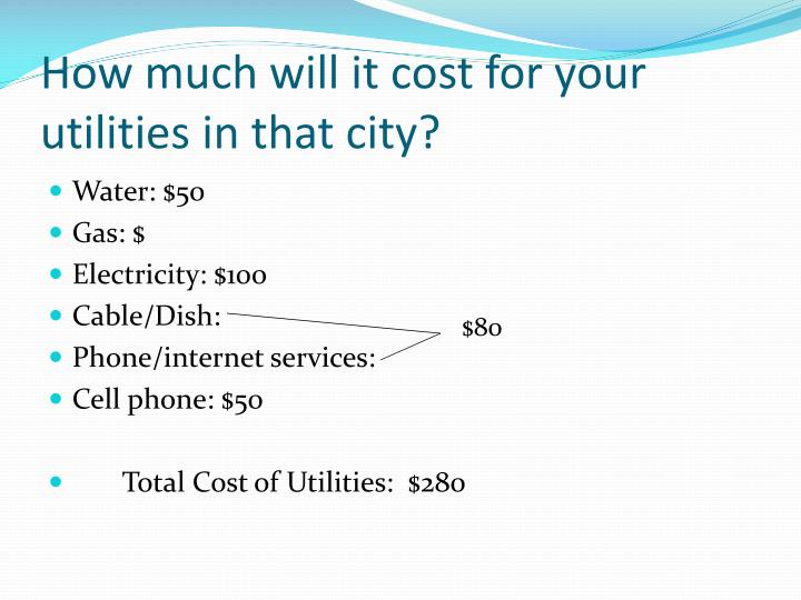 How much will it cost for your utilities in that city?
