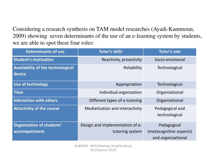 Considering a research synthesis on TAM model researches (