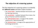 the objective of a tutoring system