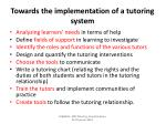towards the implementation of a tutoring system