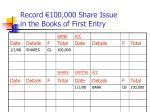 record 100 000 share issue in the books of first entry