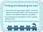 finding and boarding the train