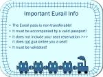 important eurail info