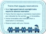 trains that require reservations