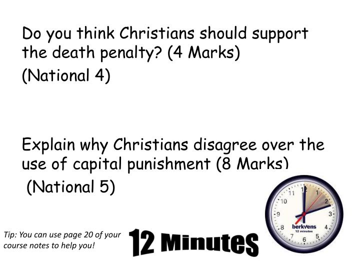 Do you think Christians should support the death penalty? (4 Marks