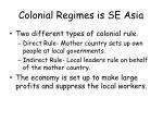 colonial regimes is se asia
