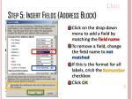 step 5 insert fields address block1