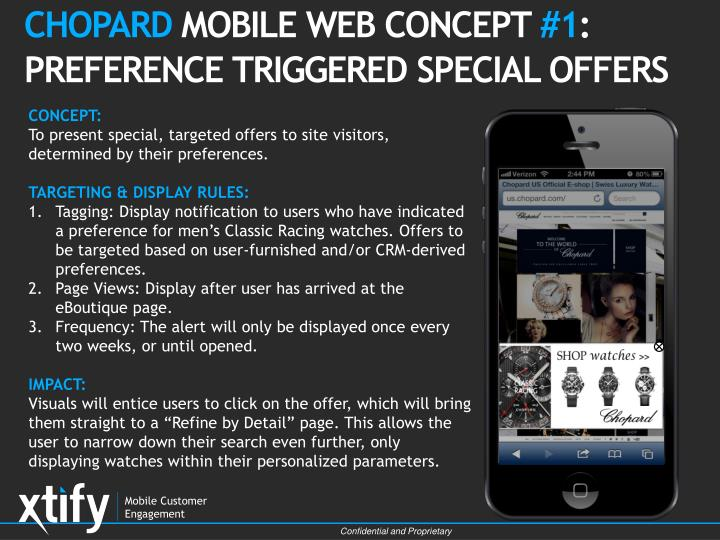 chopard mobile web concept 1 preference triggered special offers n.