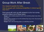 group work after break
