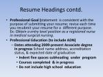 resume headings contd