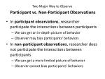 two major way to observe participant vs n on p articipant o bservations