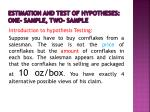 estimation and test of hypotheses one sample two sample
