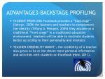 advantage3 backstage profiling