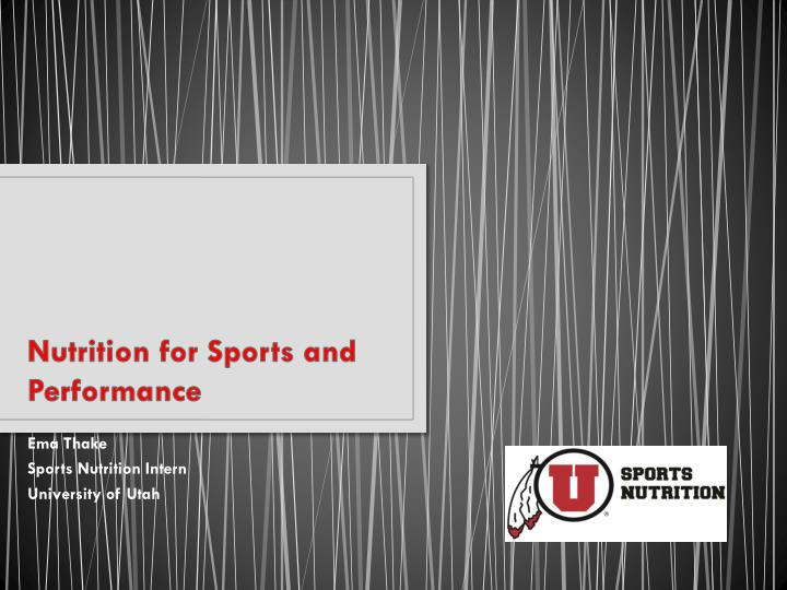 nutrition for sports and performance n.