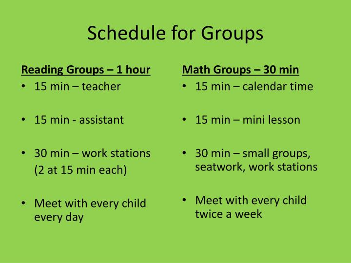 Schedule for Groups