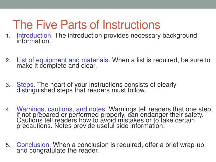 The Five Parts of Instructions