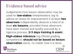 evidence based advice