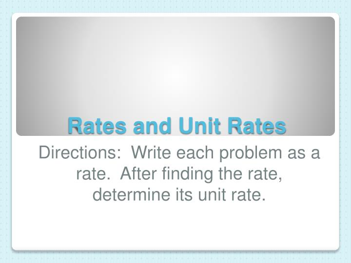 rates and unit rates n.
