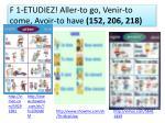 f 1 etudiez aller to go venir to come avoir to have 152 206 218