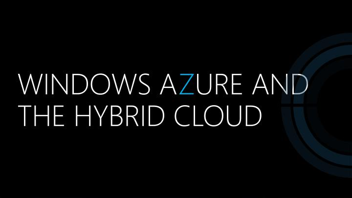 windows a z ure and the hybrid cloud n.