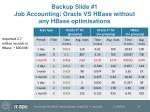 backup slide 1 job accounting oracle vs hbase without any hbase optimisations