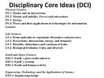 disciplinary core ideas dci