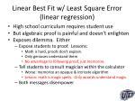 linear best fit w least square error linear regression