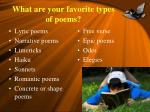 what are your favorite types of poems