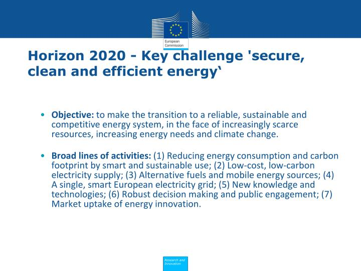 Horizon 2020 - Key challenge 'secure, clean and efficient energy'