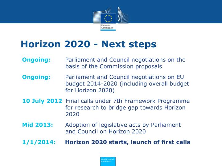 Horizon 2020 - Next steps