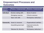 empowerment processes and outcomes