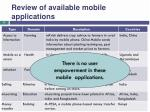 review of available mobile applications