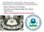 independent agencies regulatory agencies government corporations