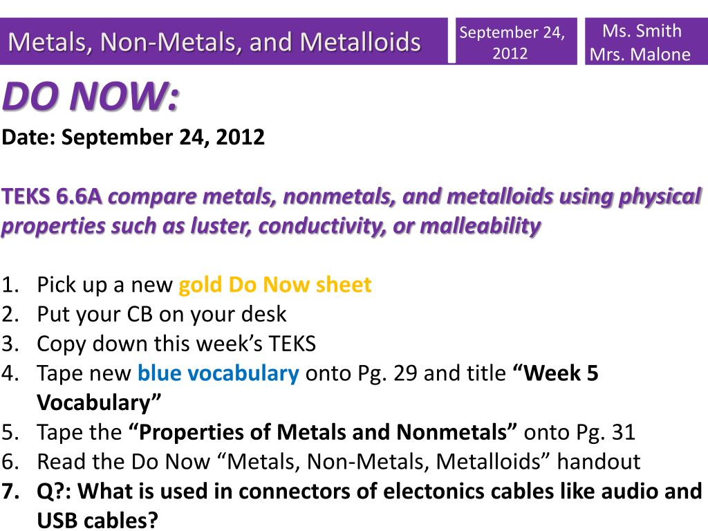 ppt metals non metals and metalloids powerpoint presentation