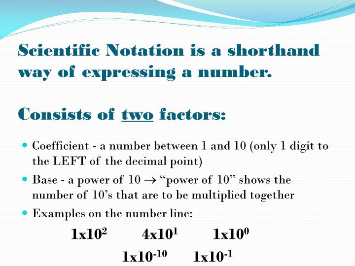 Scientific Notation is a shorthand way of expressing a number.