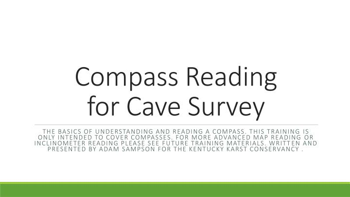 compass reading for cave survey n.