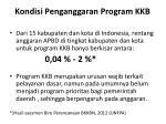 kondisi penganggaran program kkb