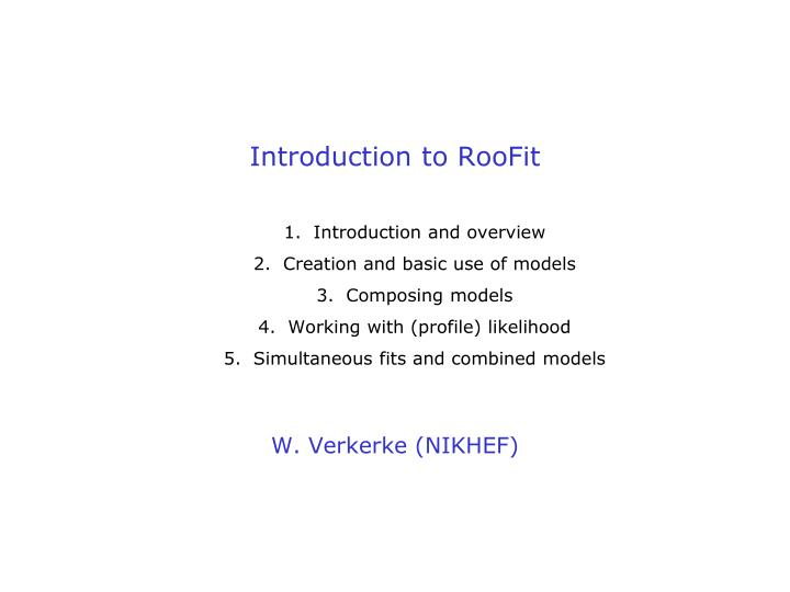 introduction to roofit n.