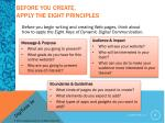 before you create apply the eight principles