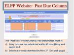 elpp website past due column