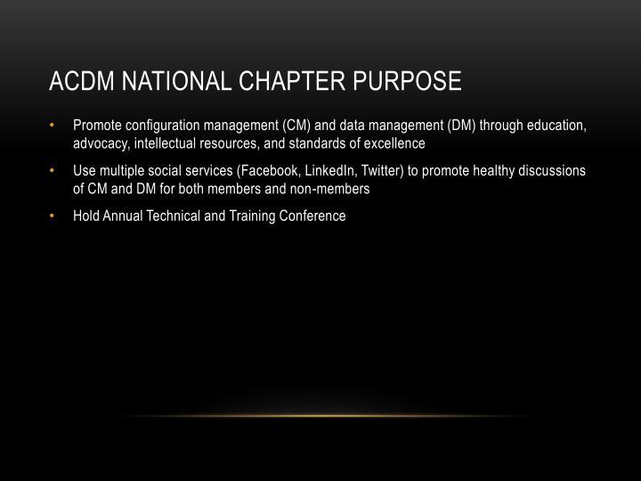 ACDM National Chapter Purpose