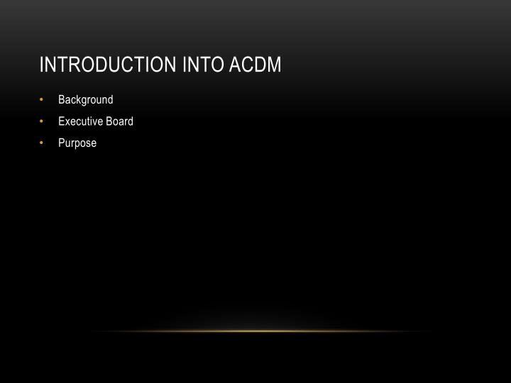 Introduction into ACDM
