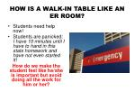 how is a walk in table like an er room