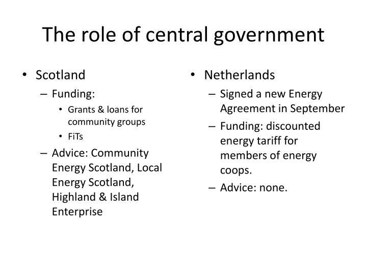 The role of central government