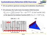 cyclostationary detection cd overview