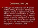 comments on cry