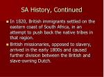 sa history continued